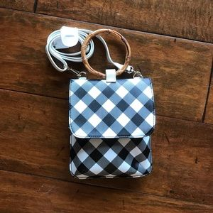 Carlos black and white checked crossbody